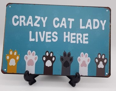Metalen bord Crazy cat lady lives here