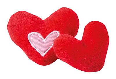 Rogz Catnip Plush Hearts Red